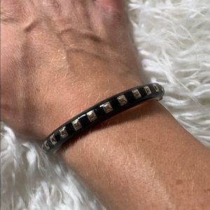 Black and silver stud bangle